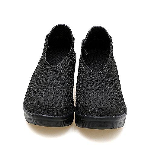 Enllerviid Dames Slip Op Platform Wiggen Sneakers Fashion Pumps Comfort Gevlochten / Weven Schoenen 866 Zwart