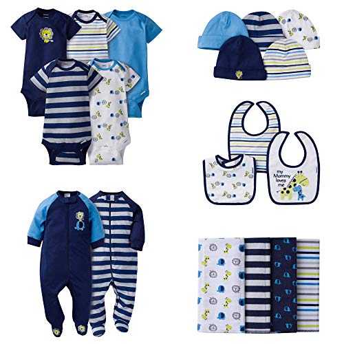 Sock Monkey Clothes For Babies (Gerber Baby Boys' 19 Piece Baby Essentials Gift Set, Safari,)