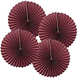 Just Artifacts Paper Pinwheel Decoration (12inch, Burgundy, Set of 4) - Click for more sizes and colors!