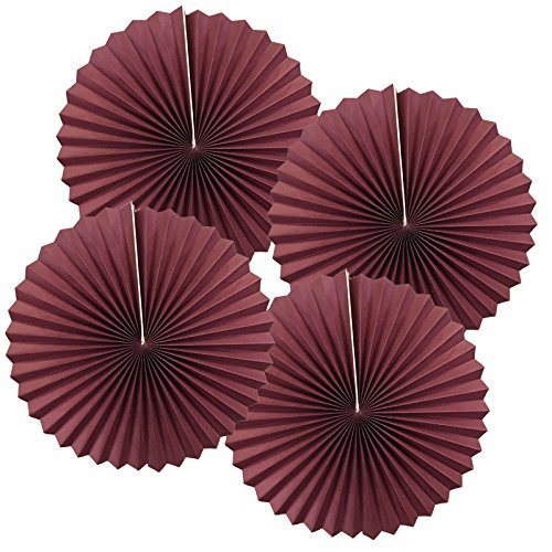Burgundy Lanterns - Just Artifacts Paper Pinwheel Decoration (12inch, Burgundy, Set of 4) - Click for more sizes and colors!