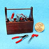 Dollhouse Miniature Tool Box with Tools Piece Set Z - My Mini Fairy Garden Dollhouse Accessories for Outdoor or House Decor