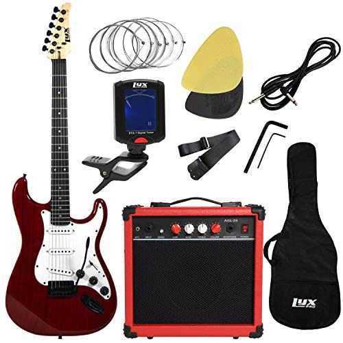 LyxPro Electric Guitar with 20w Amp, Package Includes All Accessories, Digital Tuner, Strings, Picks, Tremolo Bar, Shoulder Strap, and Case Bag Complete Beginner Starter kit Pack Full Size (Certified