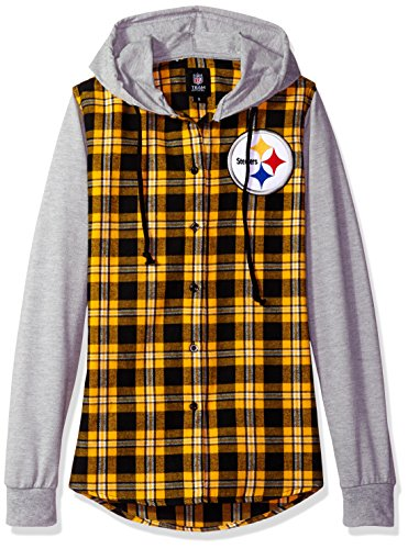 FOCO Pittsburgh Steelers Lightweight Flannel Hooded Jacket - Womens Small by FOCO