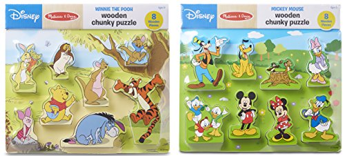 Melissa & Doug Disney Winnie the Pooh and Mickey Mouse Wooden Chunky Puzzles Set