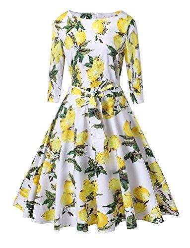 Bestwendding Vogtage 1950S Long Sleeve Retro Floral Vintage Dress With Defined Waist Design Xxxl Size