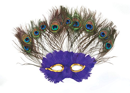 Loftus International Peacock Multicolored Feather Mask, Purple, One Size (Peacock Eye Mask)