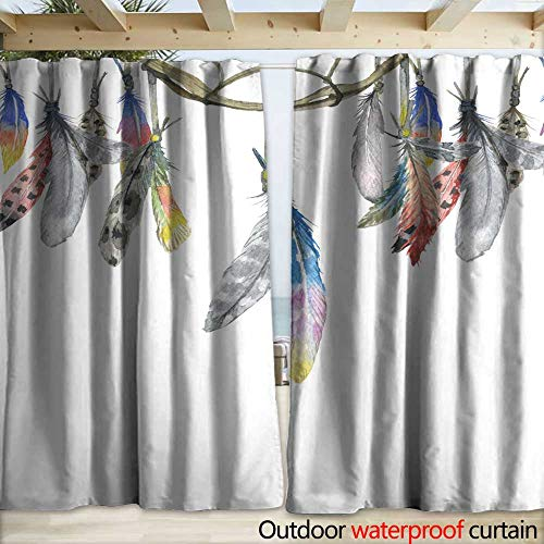 (warmfamily Grommet Curtain Panel Frame Border with Dream Catcher and Feathers Drapery W120 x L108)