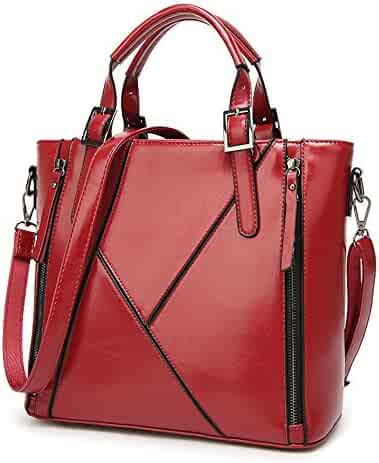 SUNROLAN Womens PU Leather Designer Tote Handbags Shoulder Bags Portable  Bags Work on Clearance Large c097b5dc7b95c