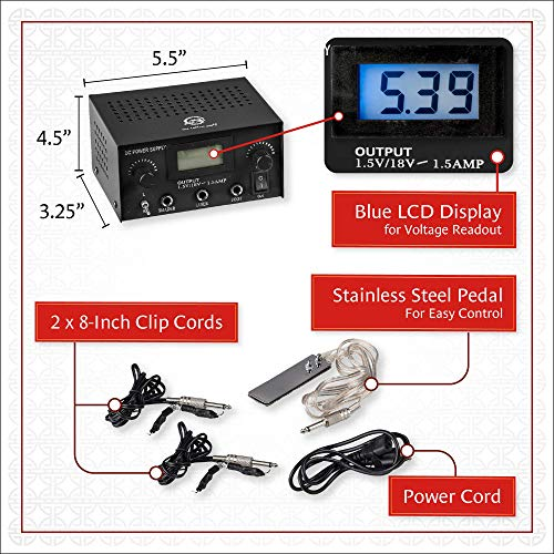 85d2f823b4b10 Pirate Face Tattoo Dual Digital Tattoo Power Supply with Foot Pedal and 2  Clip Cords,