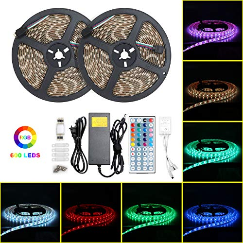Led Strip Lights,10m Waterproof 5050 RGB 600leds Flexible Color Changing Led Light Strip with 44Keys IR Remote 12V Power Supply for Indoor and Outdoor Decor