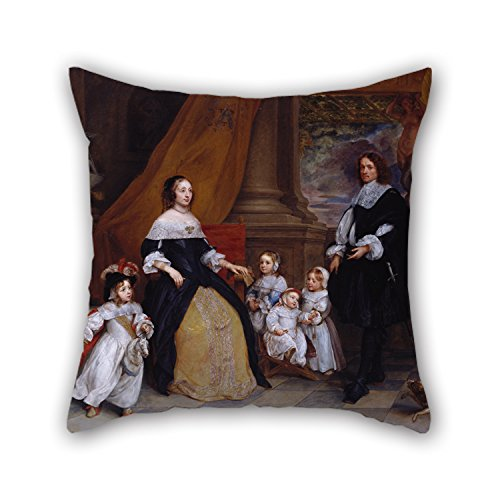 Alphadecor Oil Painting Gonzales Coques - Family Of Jan-Baptista Anthoine Cushion Cases 16 X 16 Inches / 40 By 40 Cm Gift Or Decor For Teens,car,bar,christmas,birthday,drawing Room - 2 Sides (Mini Houndstooth Rug)