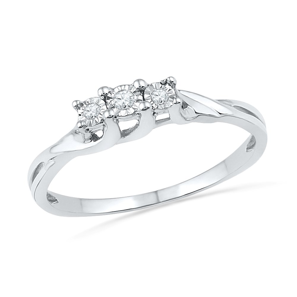 0.040CTTW D-GOLD Sterling Silver Round Diamond 3 Stone Ring