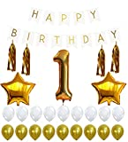 1st Birthday Party Decorations Kit with Happy Birthday Banner Sign, Number 1 ...