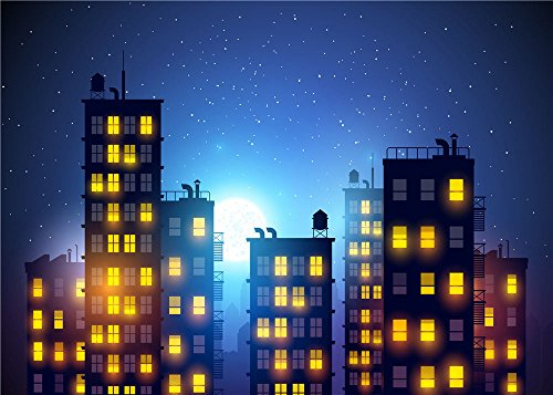 Daniu Photography Background Super Hero City Photo Studio Beautiful Moon Backdrops Vinyl 7x5FT 210cm X 150cm (Party City Backdrop)