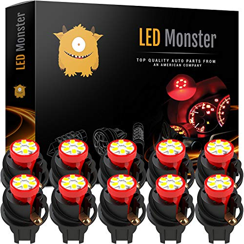 (LED Monster T10 194 LED Light Bulb 168 LED Bulbs Bright Instrument Panel Gauge Cluster Dashboard LED Light Bulbs Set 10 T10 LED Bulbs with 10 Twist Lock Socket (Red))