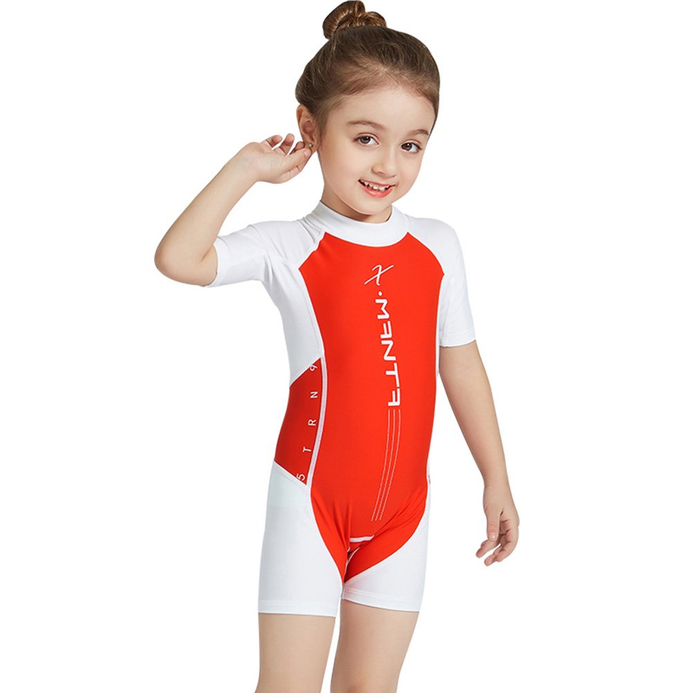 RONSHIN Baby Kids One Piece Wetsuit Sun Protection Short Sleeve Shorts Swimsuit