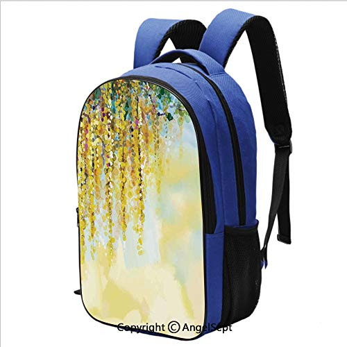 School Backpack Charms of Golden Color Wisteria in Sunny Day Artistic Print Printed Children School Backpack Cool Bookbag,Yellow Light Blue Green