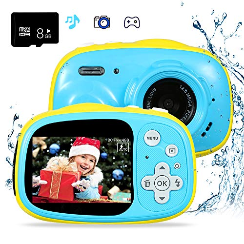 """OUKITEL Q1 Waterproof Kid Camera Digital Video Camcorder Creative Toy Camera Rechargeable with 8G Micro SD 2.0"""" IPS HP Screen a Gift for 3-12 Year Old Boys and Girls Outdoor Play, Blue."""