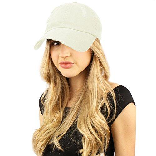 Distressed Stone Wash Denim Summer Cotton Baseball Cap Hat Adjustable Off White
