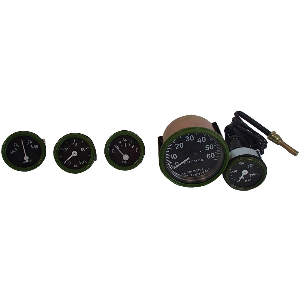 Olive Green Bezel 12V Willys Jeep M38 1952 Gauges Kit with 0-80mph Speedometer