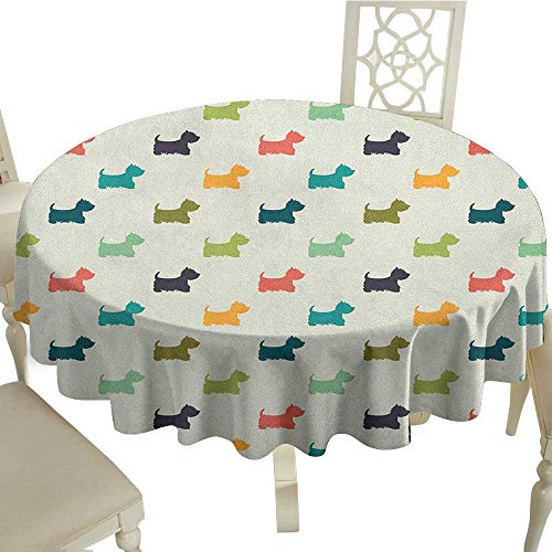 Cranekey Round Tablecloth 50 Inch Dog Lover,Polka Dotted Animal Silhouettes English Terriers Cute Abstract Pattern Image Multicolor Perfect for Spring,Summer,Farmhouse Décor,& More