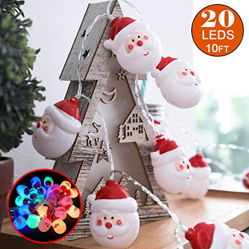 - Christmas String Lights, 10Ft Colorful String Light 20 Light Lamps Battery Powered Indoor Outdoor Garden Santa Claus LED Decorative Lights for Wedding Party Christmas Tree Decorations, Color Glow