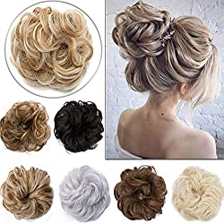 Elailite Updo Hair Extensions Synthetic Hair Bun Wavy Donut Bride Scrunchy Messy Hairpieces 2 Pieces 45g/pcs Medium Brown-Thicker