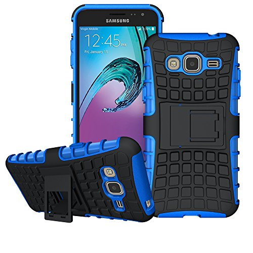 Galaxy J3 Case, Amp Prime Case, Express Prime Case , Viodolge [Shockproof] Hybrid Tough Rugged Dual Layer Protective Case Cover with Kickstand for Samsung Galaxy J3 (2016) / Express Prime (blue)