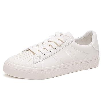 Zapatillas de Deporte con Fondo Plano Beige de Mujer Zapatillas de Deporte con Casco de Shell Casual Zapatillas de Deporte con Cordones de Moda de Mujer ...