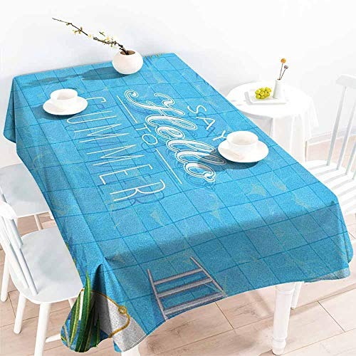 EwaskyOnline Fashions Rectangular Table Cloth,Quote Say Hello to The Summer Slogan on a Pool with Ladder Flip Flops and Flowers Design,Resistant/Spill-Proof/Waterproof Table Cover,W54x72L, Multicolor]()