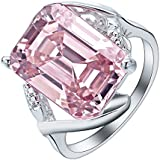 Women Fashion Princess Cut Pink Topaz Ring 925 Silver Wedding Engagement Jewelry (7)