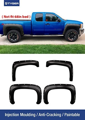 Tyger Auto TG-FF8C4068 for 2007-2014 Chevy Silverado (NOT for Short Bed) | Paintable Smooth Matte Black Pocket Bolt-Riveted Style Fender Flare Set, 4 Piece