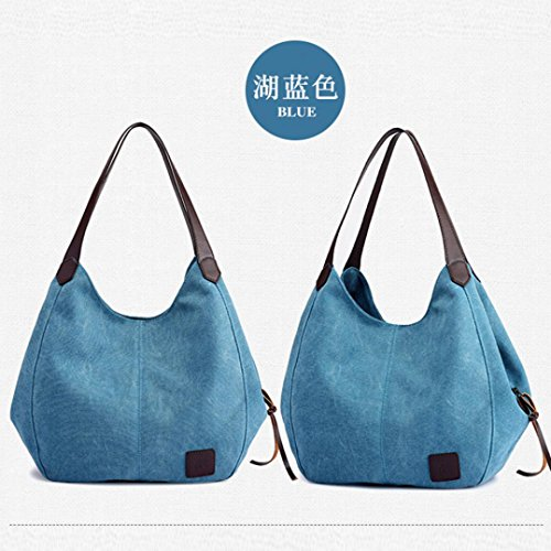 Canvas Zipper Handbags Tote Bags Hasp Hobos High Messenger Purse Shoulder Hotsellhome Vintage Travel Female amp; Quality Women's Bag Casual Blue with Single New Z46wWHt