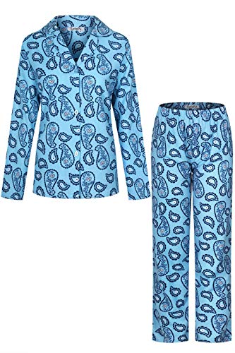 Striped Flannel Pajama Pants (SofiePJ Women's Printed Cotton Brush Flannel Notch Collar Pajama Set with Long Pants Blue XL(55971))