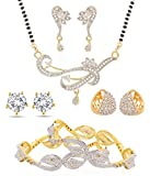 Jewels Galaxy Precious Collection of 1 Sparkling Floral Design AD Bangles, 1 Mangalsutra Set, 1 Bali & 1 Earring - Combo of 4 for Women