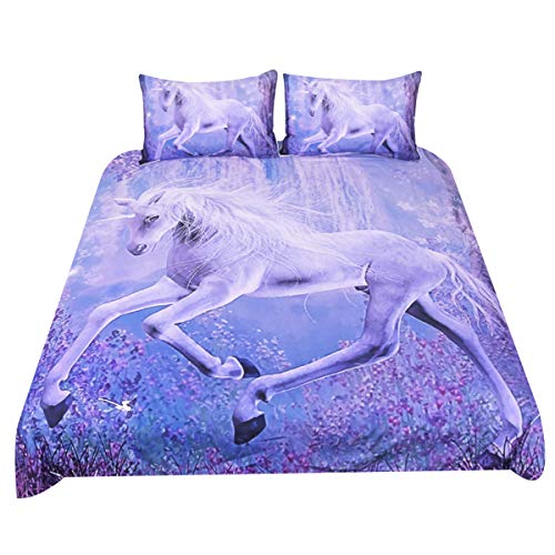 Sleepwish Purple Unicorn Bedding Dreamy Lavender Unicorn Duvet Cover Teen Fantasy Animal Art Bed Comforter Cover Set (Twin)