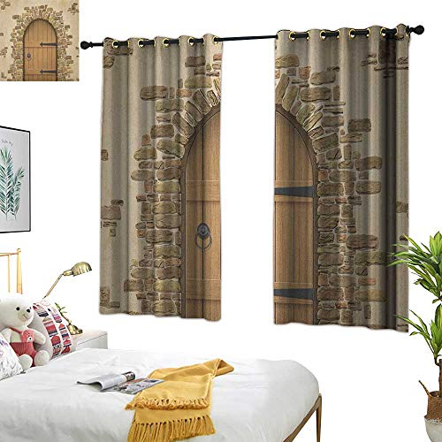 (Warm Family lace Curtains Rustic,Wine Cellar Entrance Stone Arch Ancient Architecture European Building, Sand Brown Pale Brown 72