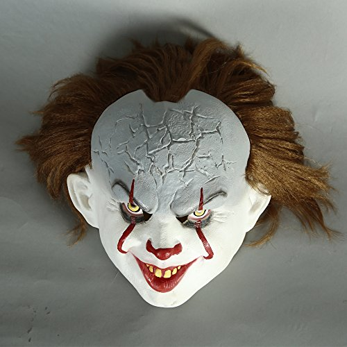 Moniku Halloween Classic Horror Clown Mask Faux Fur Mask
