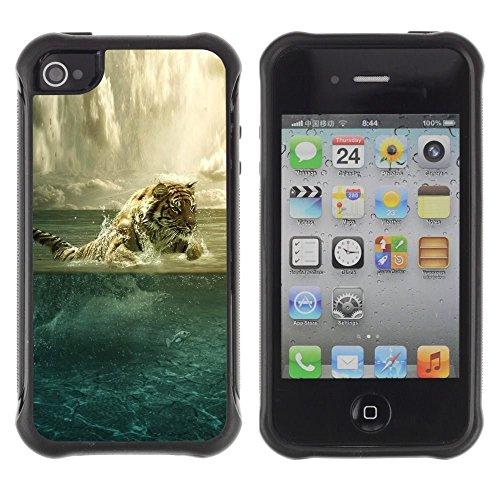iPhone 4 / iPhone 4S , Tiger Painting Powerful Animal Art Ocean