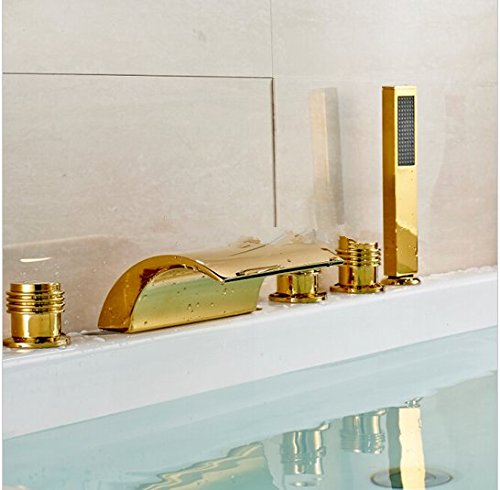 GOWE LED Color Chaning Waterfall Bathroom Tub Faucet 3 Handles Sink Mixer Tap Golden 3