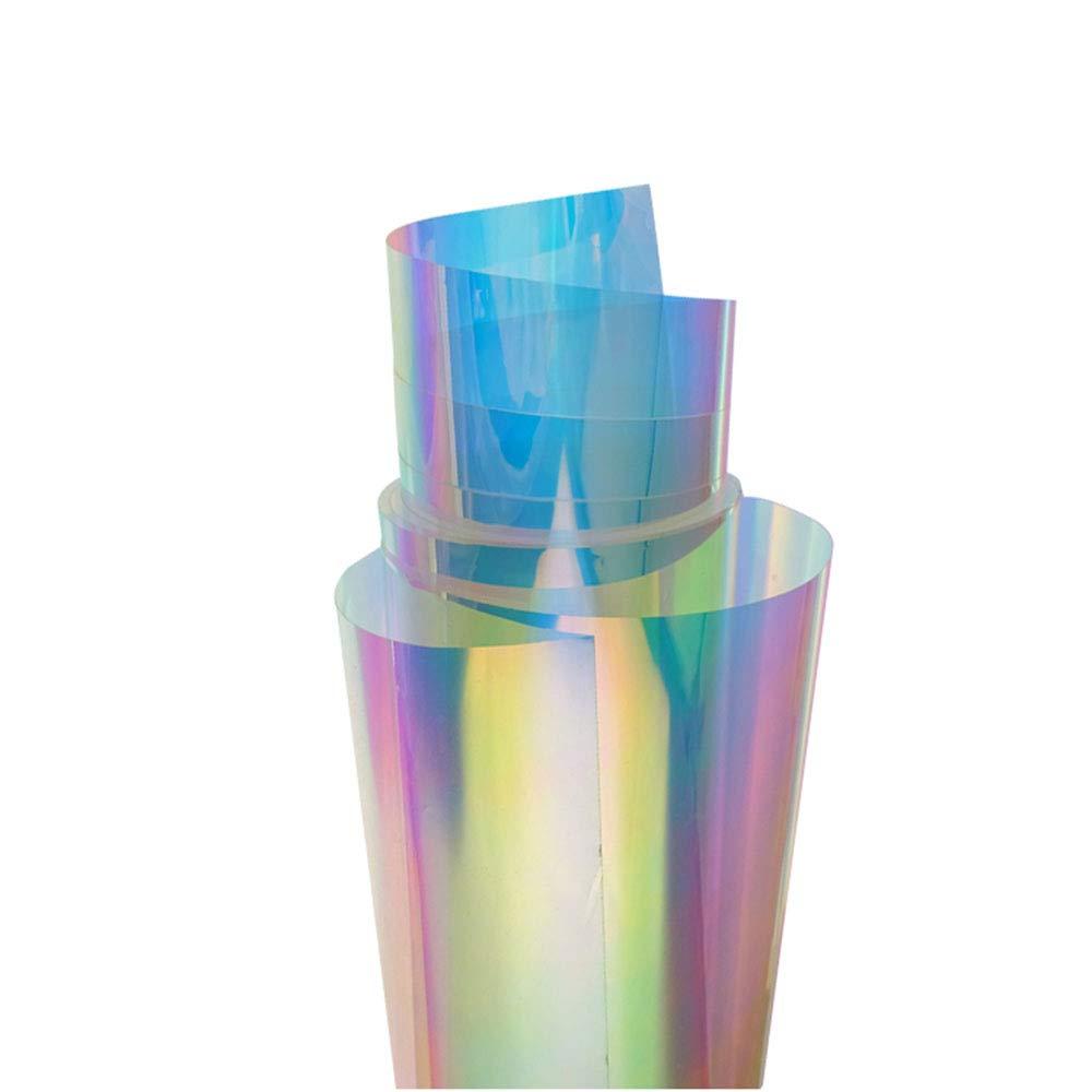 "HOHOFILM 54""x20"" Chamelon Color Window Film Rainbow Effect Iridescent Window Tint Decorative Glass Sticker Self-Adhesive Home Decal DIY"
