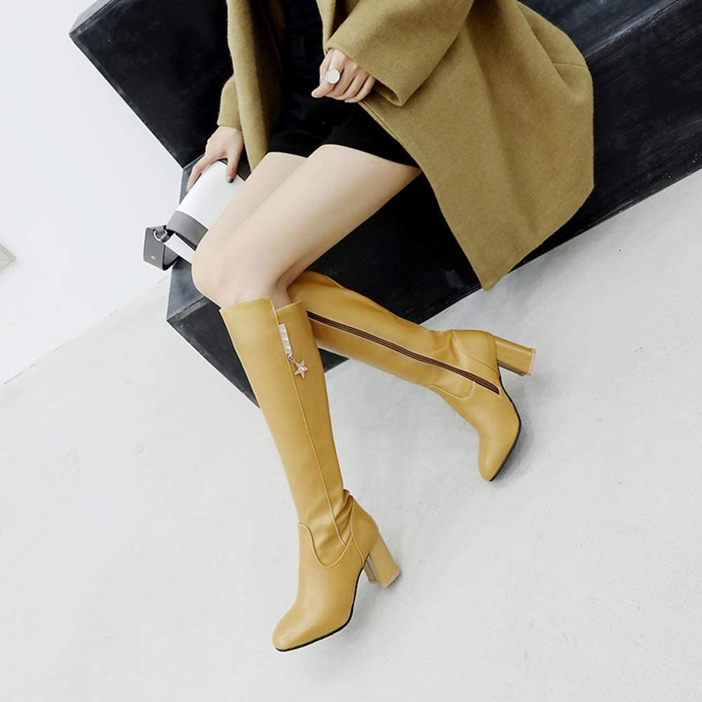 Women Boots Over The Knee Plus Size High Square Heels Female Pumps Office Fashion Booties