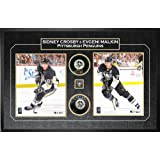 Frameworth Sidney Crosby and Evgeni Malkin Signed Pucks with 8x10's Pittsburgh Penguins