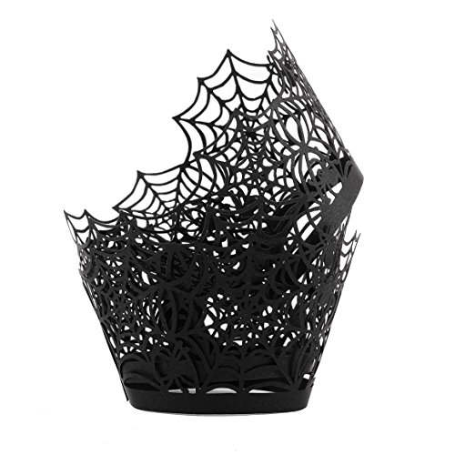 Cupcake Wrappers Filigree Artistic Muffin Case Cupcake Paper Cup Liners Little Vine Lace Laser Cupcake Wrappers for Wedding Party Birthday Decoration (Spider Black) -
