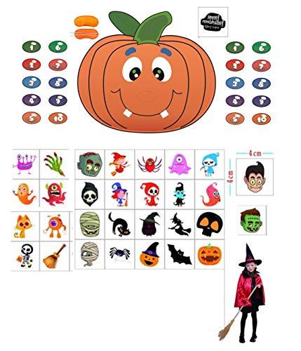 Make A Halloween Pumpkin Game (Pin The Nose on The Pumpkin Game with Halloween Tattoos Halloween Party Supplies Halloween Game Halloween Decorations)