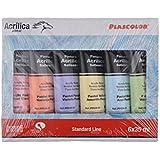Plascolor PP182 Pack de 6tubes de peinture acrylique Assortiment de couleurs