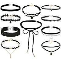 Clearance! Tloowy 10 Pieces Fashion Velvet Chokers Necklaces Set Classic Gothic Tattoo Lace Choker for Women and Girls
