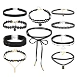 Clearance! Tloowy 10 Pieces Fashion Velvet Chokers Necklaces Set Classic Gothic Tattoo Lace Choker for Women and Girls (A)