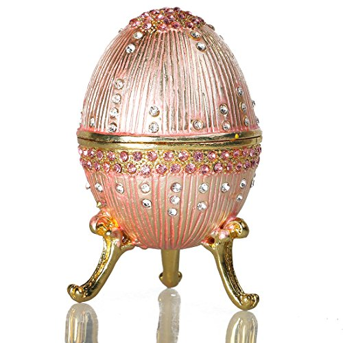 HONG JORA Pink Faberge Egg Figurine Enamel Jewelry Trinket Box-Russian Style Bejeweled with Rhinestones
