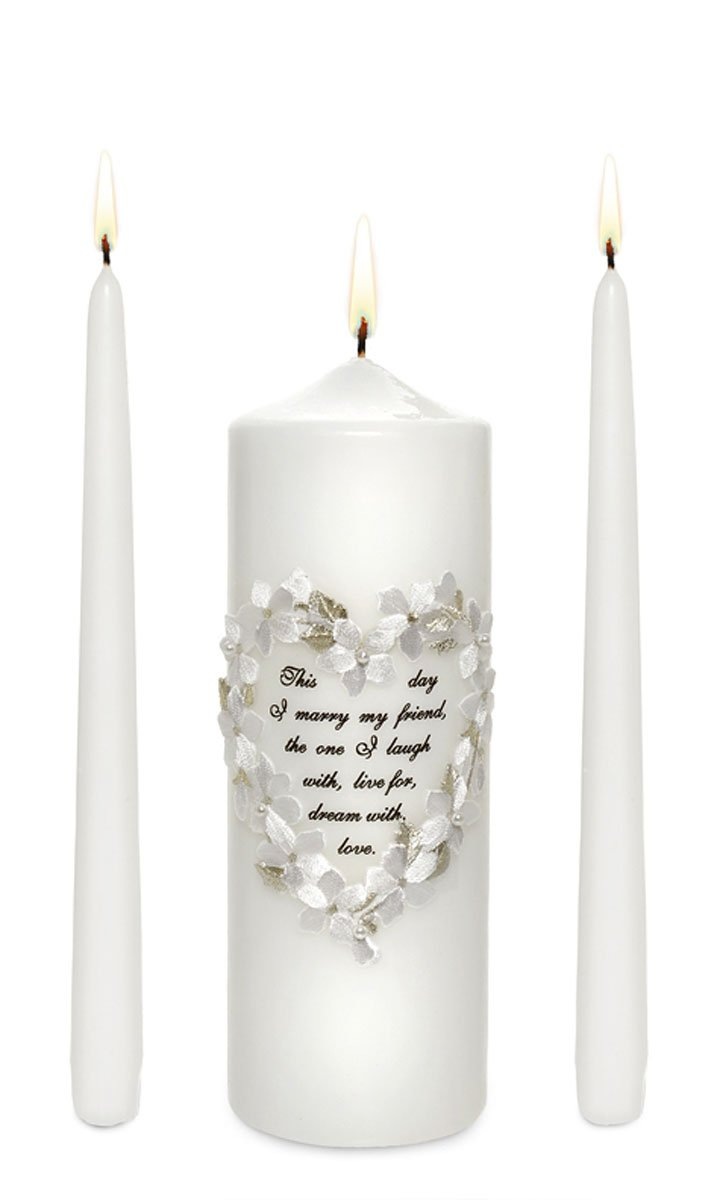 Celebration Candles Unity Candle Set with Floral Heart Frame and This Day I Marry My Friend Verse, White.